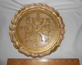 Circa 1960-70's Tray Made in Italy Gold Leaf paint & Pale pink Vintage
