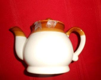 Vintage Pottery Teapot Rustic Brown Tan
