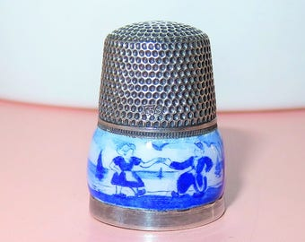 SALE! Antique .835 Silver & Enamel Delft Thimble - Dutch Boy and Girl-Boats-Windmill-Birds-Water-Gabler Germany with Netherlands Export Mark