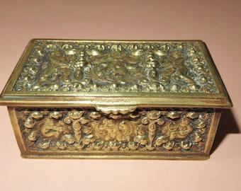 Antique Erhard & Sohne Germany Bronze Cherubs Trinket Box Casket-Velvet Lined Box-Repousse Jewelry Chest-Vanity Box-Hallmarked