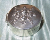 Antique Wallace Sterling Silver Pill Box-Snuff Box-Patch Box-Relief Repousse Flowers Leafs Floral Bouquet-Wallace Silversmiths Box
