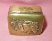 Antique Brass Bronze Japanese Meiji Era Hinged Box- Pill Box-Trinket Box-Ring Box-Embossed Butterflies on Writing Scroll with Flowers