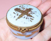 Antique French Porcelain Trinket Box-Hand Painted Crossed Torch and Arrow Quiver- Brass Hinged Box-Sevres Mark Made in France Patch Box