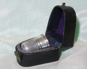 Antique Fitted Thimble Holder-Velvet and Silk Leatherette Casket-Case-Etui with Swivel Hook Closure Sterlng Silver Simons Brothers Thimble