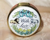 Vintage Halcyon Days Bilston Battersea Round Enamel Hinged Pill Box - Lion and Lamb quot With Love quot Daffodils and Ribbons Decor