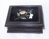 Antique Pietra Dura Marble Stone Inlay Wood Box-Floral Mosaic Inlaid Jewelry Casket Box-Bun Feet-Collectible 19th Century Italy Dresser Box