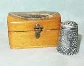 Antique Sterling Silver Ornate Thimble Antique Mauchline Ware Dumfries From South Thimble Case Holder Etui-Velvet Lined Hinged Wood Box