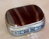 SALE Fine Victorian Antique Silver Enameled Agate Box- Banded Agate Pill Box-Snuff Box-Trinket Box-Enamel Silver Agate Stone Box-Excellent