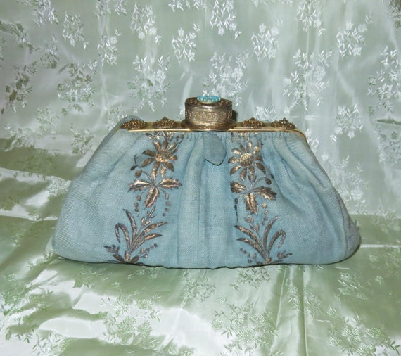 RARE Antique Pill Box Handbag Purse with Hinged P… - image 6