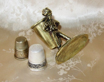 Antique Sterling Silver Gabler Germany Thimble & Brass Germany Thimble and Solid Brass Figural Boy With Basket Thimble Holder Display