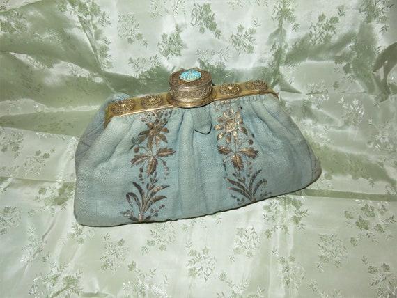 RARE Antique Pill Box Handbag Purse with Hinged Pi