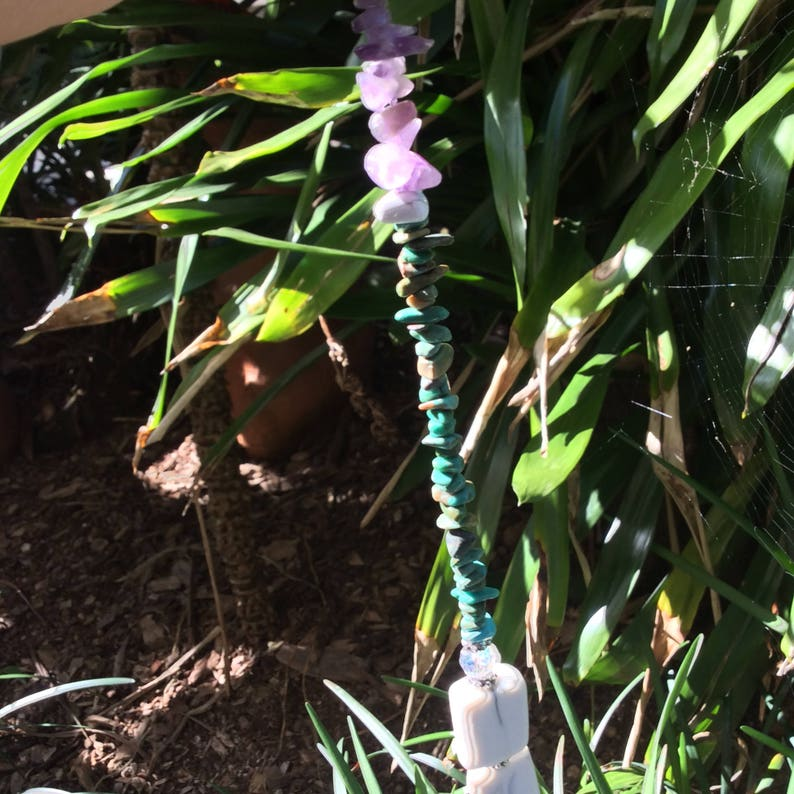 DFSC1 Porcelain  turquoise dragon fly with turquoise,amethyst,fluorite stained porcelain marbelized  beads sun catcher