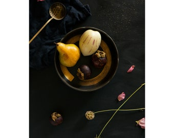 Mangosteen, Pepino Dulce, Bosc Pear, low light, Ripe Fruit, Food, Art Photography, Fresh Fruit, Still life (Unframed)