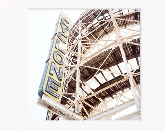 Coney Island, Cyclone Wooden Rollercoaster, Luna Park, Yellow, Neon Sign, Brooklyn, New York, Roller Coaster, Square, 120mm Film (Unframed)