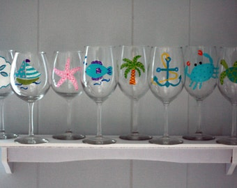 Painted Wine Glasses Beach Etsy