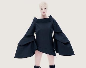 Asymmetrical Jacket, Women's Clothing,Black Jacket,Cyberpunk Clothing, Black Dress,Decontructed Jacket,Oversized Blouse, Black Winter Jacket