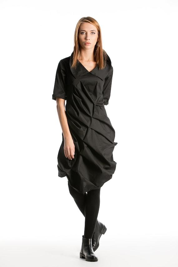 Cocktail Extravagant Shirt Dark Fashion Avant Garde Dress Steampunk Dress Deconstructed Dress Futuristic Clothing Black Midi Dress