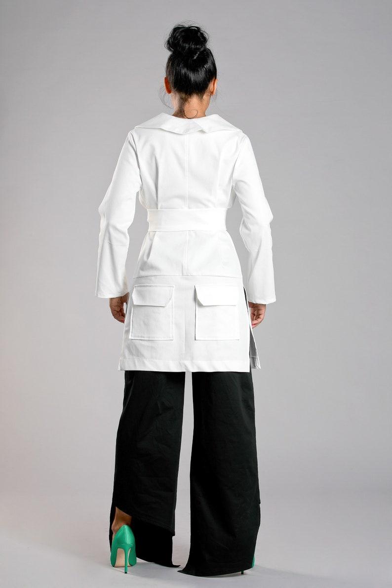 Futuristic Clothing Kimono Jacket Belt Jacket Elegant Blazer Winter Jacket White Jacket Avant Garde Clothing Extravagant Jacket
