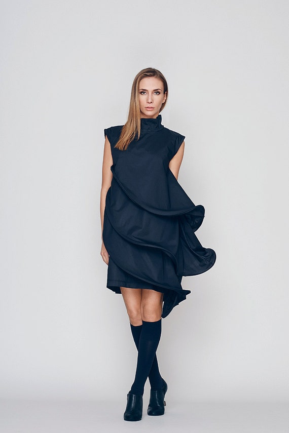 Loose Fit Dress Black Formal Dress Layered Dress Little Etsy