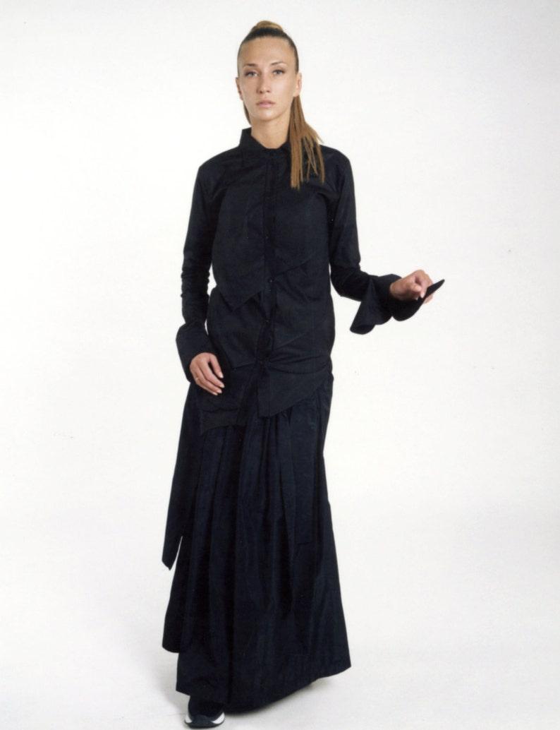 Long Black Shirt, Black Dress Shirt, Long Sleeve Shirt, Dress Shirt, Plus Size Shirt, Women Black Shirt, Black Button Down, Asymmetric Shirt
