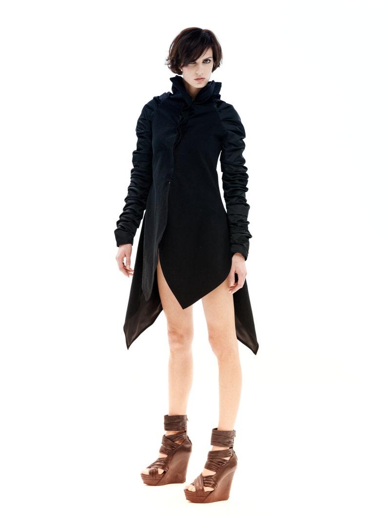 Black Jacket Winter Jacket Avant Garde Jacket Asymmetrical image 0