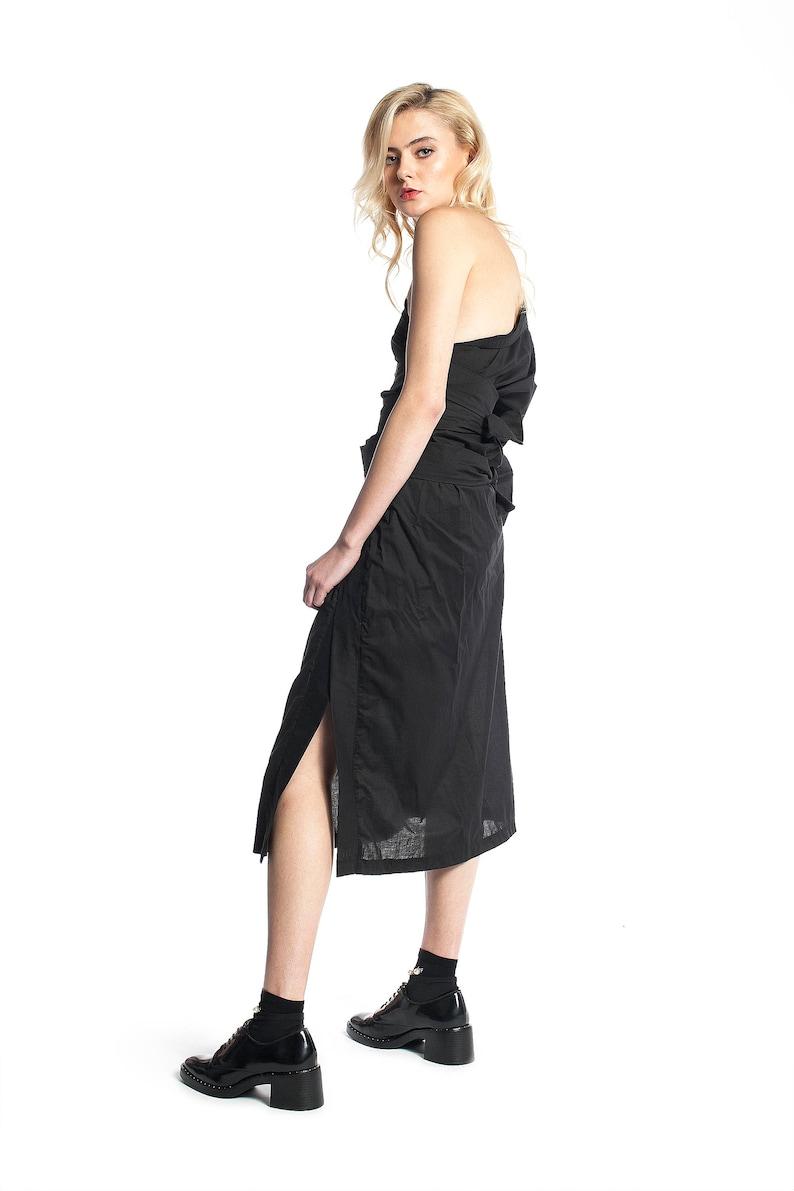 One Shoulder Dress Asymmetrical Dress Oversize Deconstructed Dress Japanese Clothing Cocktail Dress Avant Garde Clothing Black Dress