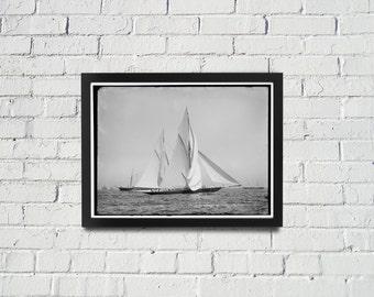 FRAMED Sailing Photography Black and White Americas Cup Vintage Framed Art, Sailing Art, Office Art, Living Room Art, Historical Print (102)