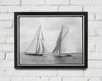 FRAMED Sailing Photography Black and White Americas Cup Vintage Framed Art, Sailing Art, Office Art, Living Room Art, Historical Print (107)