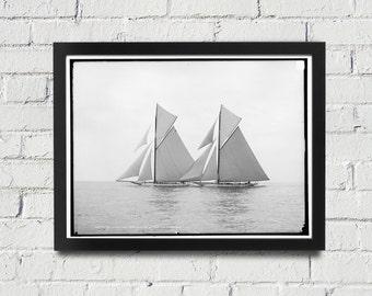 FRAMED Sailing Photography Black and White Americas Cup Vintage Framed Art, Sailing Art, Office Art, Living Room Art, Historical Print (106)