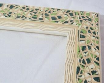 Vert Mid Century cadre moderne, cadre méditerranéen, cadre photo vert, cadre mosaïque vert, Green Beach Cottage cadre, cadre Style mosaïque,