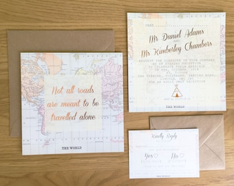Map wedding invites etsy wedding invitation suite world map foil design travel invite evening invitations rsvp insert including evelopes rose gold copper gumiabroncs Choice Image