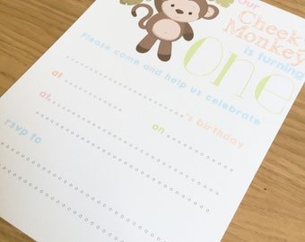 First Birthday Invitations - Cheeky Monkey Design - Turning 1 - one - 10 pack