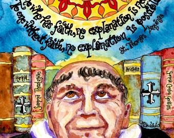 Saint Thomas Aquinas Quote - Catholic art print of watercolor, books, knowledge, Dominican cross, Fleur-de-lis, Office or homeschool decor