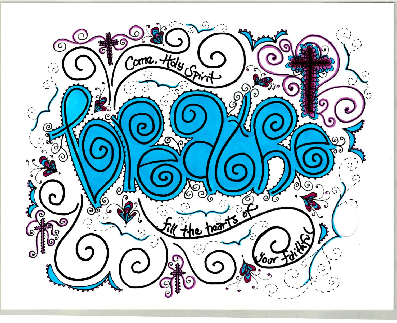 picture regarding Come Holy Spirit Prayer Printable named Breathe - Occur Holy Spirit Prayer Artwork Print; Catholic artwork; Christian artwork; 8x10; teenager space decor; women of all ages space decor; pink and blue