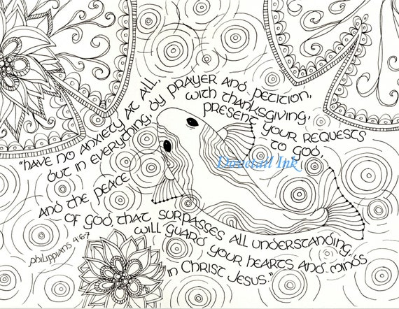 Printable Philippians 4 6-7 Scripture Art Coloring Page for | Etsy