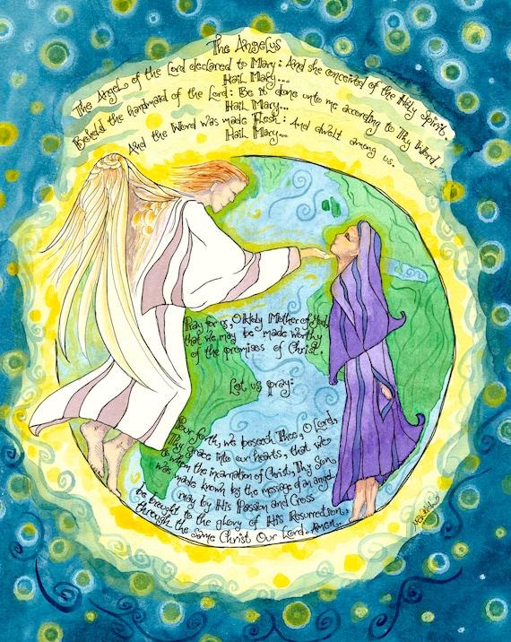 El Arte Católico De Oración De ángelus Anunciación Maria Etsy