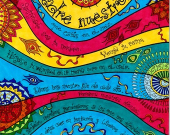 Padre Nuestro 11x14 or 8x10 art print, Our Father in Spanish, whimsical contemporary Catholic art, Lord's Prayer, prayer art, bright colors