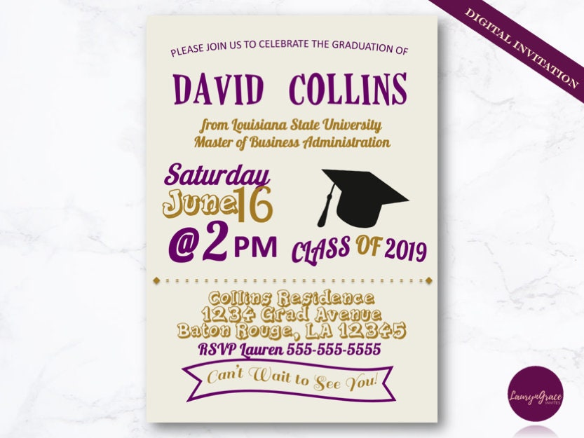 Purple And Gold Graduation Invitation DIY Printable Grad Invite Digital Download Custom