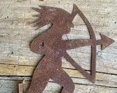 Folk Art Indian with Bow and Arrow Weathervane Early 20th Century custom made display