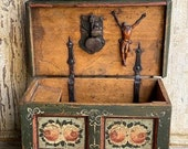 18th Century Miniature Austrian Wedding Chest Box with Key hidden compartment and crucifix inside