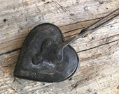 Rare Handwrought Iron Antique Heart Waffle Iron German 19th Century