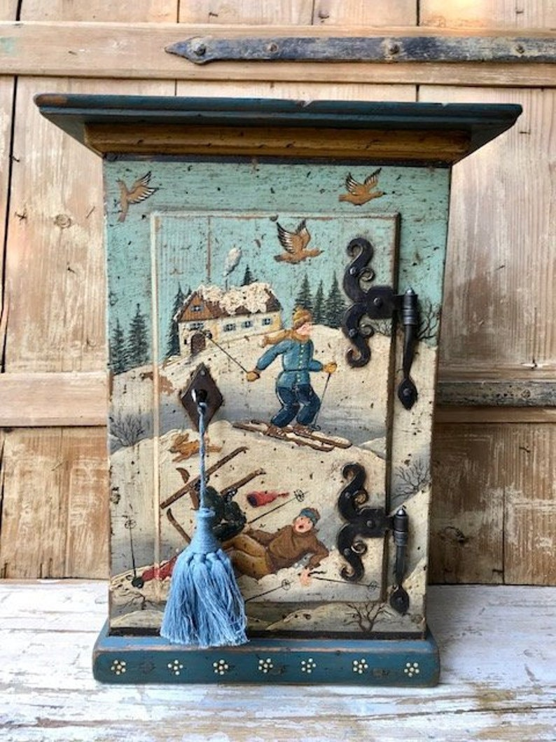 Antique Painted Cupboard with Skier Motif image 0