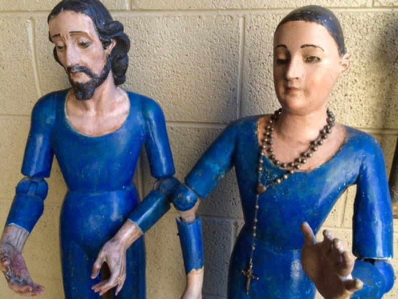 Pair of Large Antique Spanish Santos Joseph and Mary with image 0