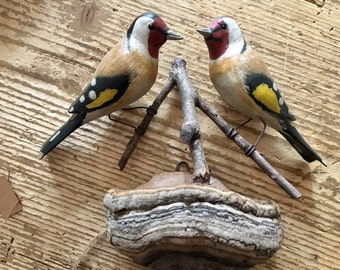 Folk Art Wood Carved Birds