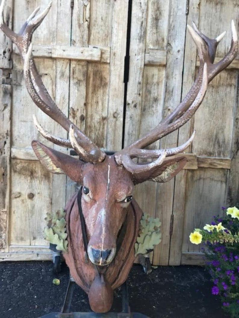 XXL Cast Iron Stag Head  Rare Deer Head Germany Hunting Lodge image 0