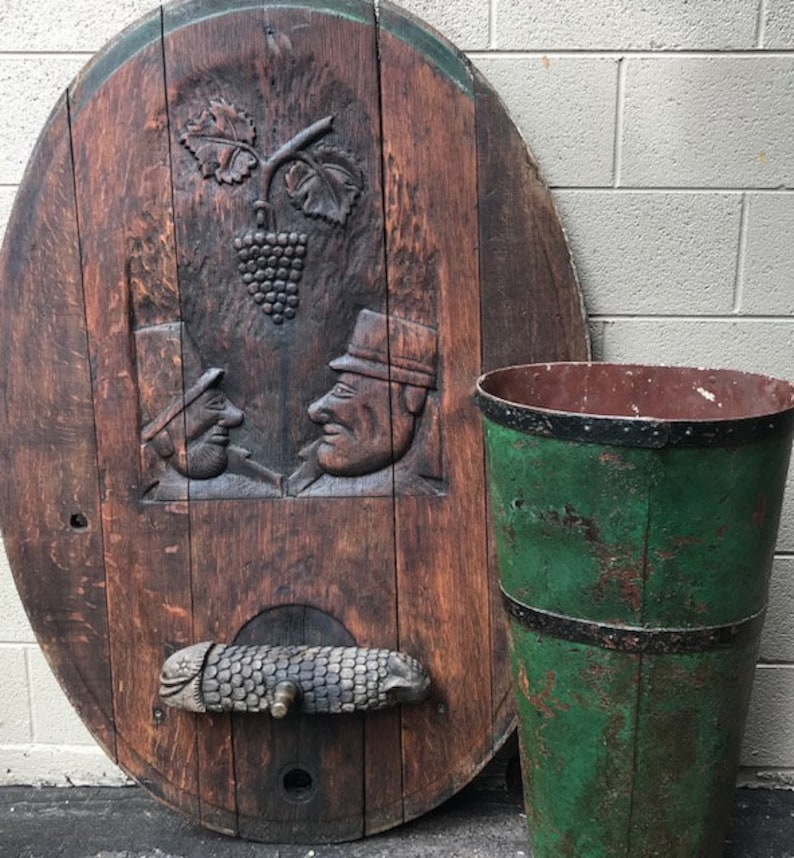 Rare European Oak Wine Beer Barrel Front  NO SHIPPING for image 0