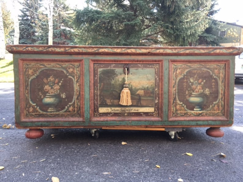 Painted Bavarian Wedding Chest Trunk  Shipping is additional image 0