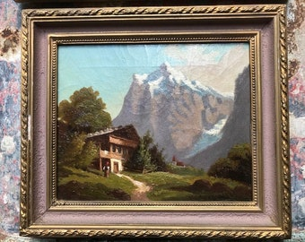 Small Bavarian Oil Painting  Chalet on Mountain Lake