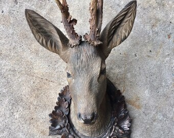 Wood Carved Deer Stag Head  19th Century