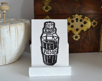 Poison Bottle Original Black Lino Prints